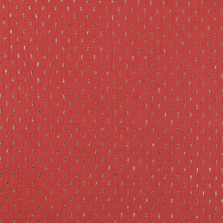 Tissu Double gaze de coton Pointillés Or sur fond Terracotta - Par 10 cm
