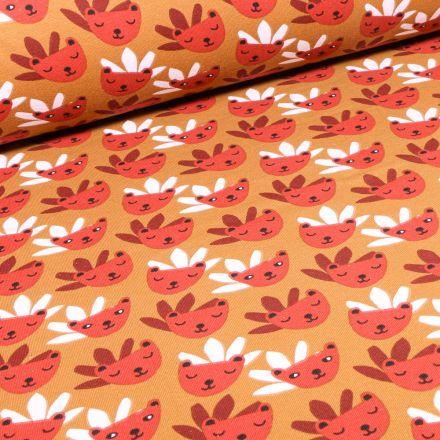 Tissu Jersey Coton Rody sur fond Ocre