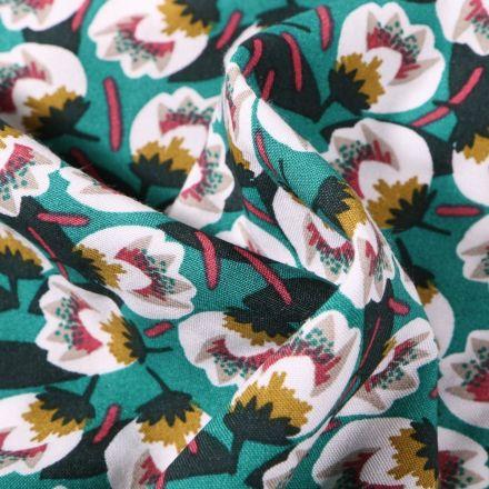 Tissu Viscose Arty Flora sur fond Vert émeraude - Par 10 cm