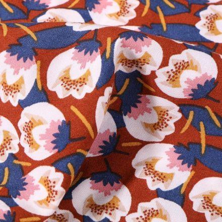 Tissu Viscose Arty Flora sur fond Rouille - Par 10 cm