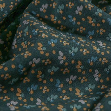 Tissu Viscose  Arty Mini fleurs camel et nuit sur fond Bleu marine - Par 10 cm