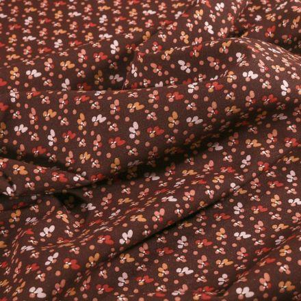 Tissu Viscose Arty Petites fleurs ocre et rouges sur fond Bordeaux - Par 10 cm