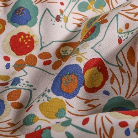 Tissu Viscose  Arty Fleurs colorées et hirondelles sur fond Blanc - Par 10 cm