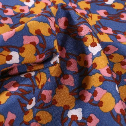 Tissu Viscose Arty Flora sur fond Bleu - Par 10 cm
