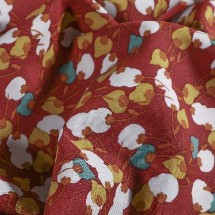 Tissu Viscose  Arty Fleuris sur fond Rouille - Par 10 cm