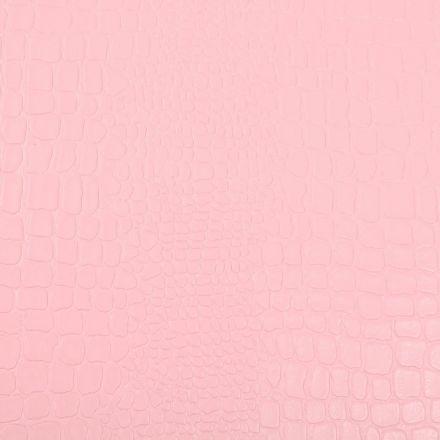 Tissu Simili cuir Croco Rose - Par 10 cm