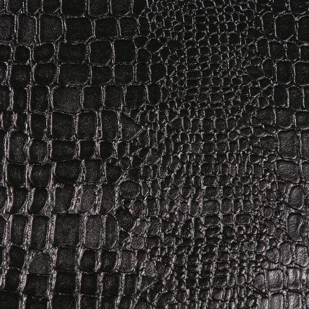 Tissu Simili cuir Croco brillant laqué sur fond Noir - Par 10 cm