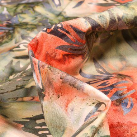 Tissu Coton QT Fabrics Way Under Kusuma sur fond Orange