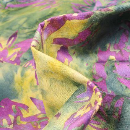 Tissu Batik  Cahya sur fond Violet
