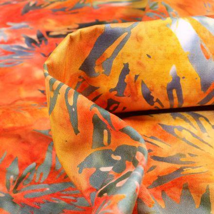 Tissu Batik  Binja sur fond Orange