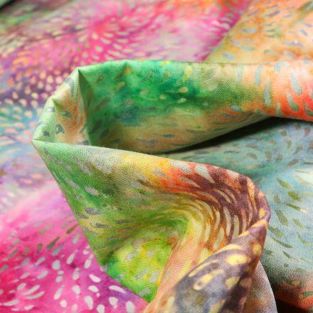 Tissu Batik  Tahia sur fond Vert