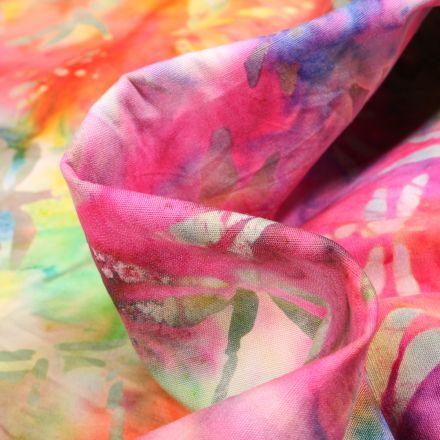 Tissu Batik  Nilla sur fond Jaune
