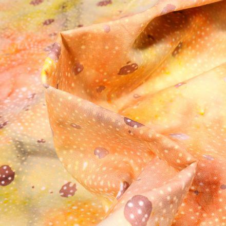 Tissu Batik  Latika sur fond Orange