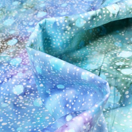 Tissu Batik Latika sur fond Bleu turquoise