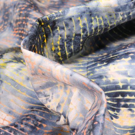 Tissu Batik  Nurul sur fond Bleu nuit