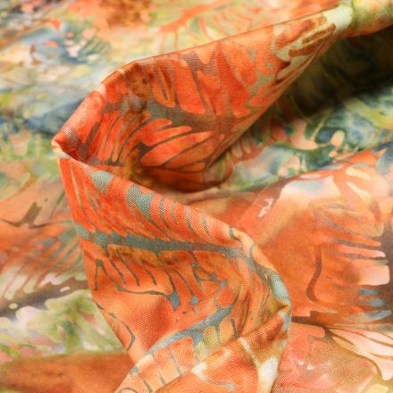 Tissu Batik  Jamal sur fond Orange