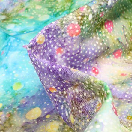 Tissu Batik  Latika sur fond Violet