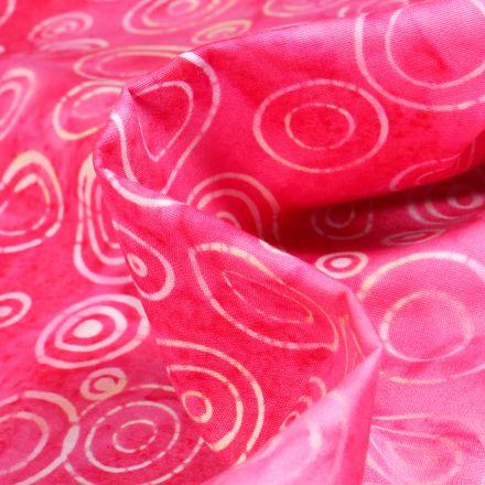 Tissu Batik  Nalla sur fond Rose fuchsia
