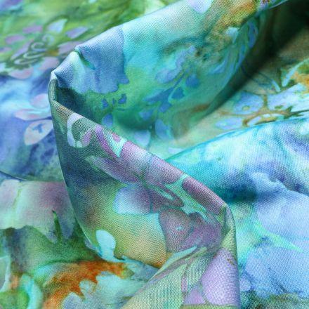 Tissu Coton QT Fabrics Way Under Bima sur fond Bleu