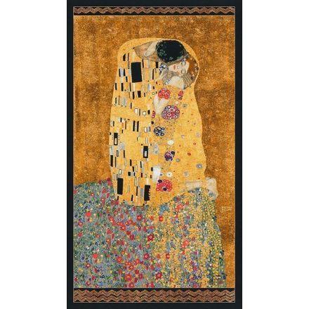 Tissu Robert Kaufman Gustav Klimt Couple sur fond Or - Par panneau de 60 cm