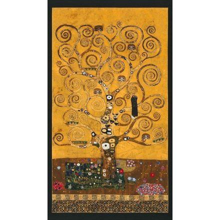 Tissu Robert Kaufman Robert Kaufman Gustav Klimt arbre sur fond Or - Par panneau de 60 cm