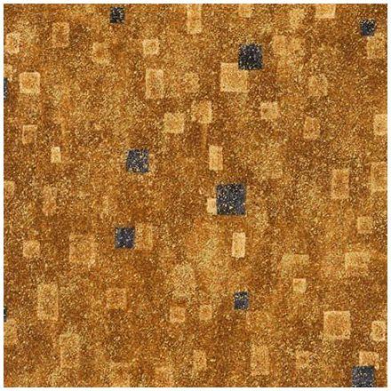 Tissu Coton Robert Kaufman Gustav Klimt rectangles sur fond Or - Par 10 cm