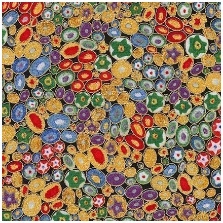 Tissu Coton Robert Kaufman Gustav Klimt galets fleuris sur fond Multicolore - Par 10 cm