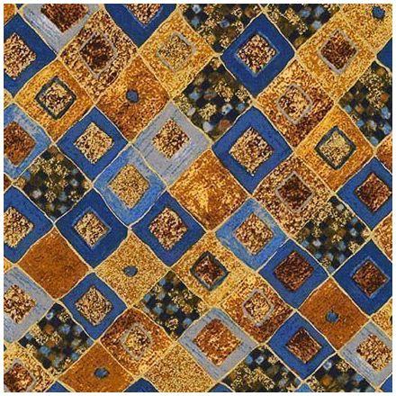 Tissu Coton Robert Kaufman Gustav Klimt losanges bleus sur fond Or - Par 10 cm