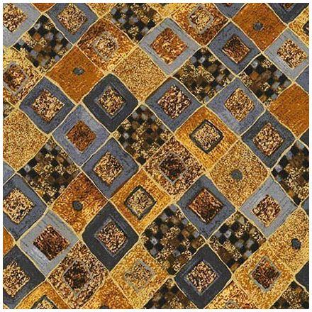 Tissu Coton Robert Kaufman Gustav Klimt losanges gris sur fond Or - Par 10 cm