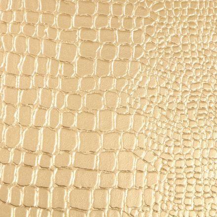 Tissu Simili cuir Croco Or - Par 10 cm
