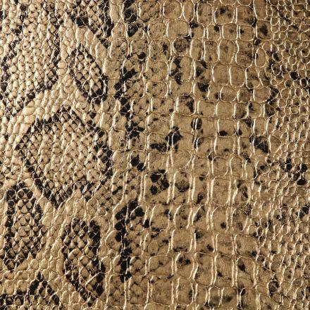 Tissu Simili cuir Croco snake Or - Par 10 cm