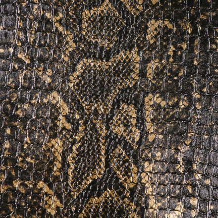 Tissu Simili cuir Croco snake Or sur fond Noir - Par 10 cm