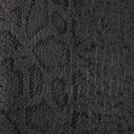 Tissu Simili cuir Croco snake Noir mat sur fond Noir - Par 10 cm
