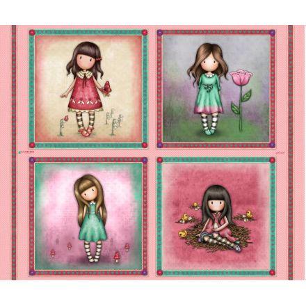 Tissu Coton Santoro London Gorjuss cube sur fond Rose - Par 90 cm