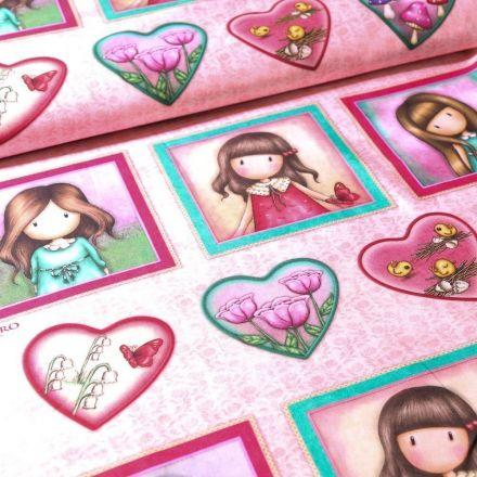 Tissu Coton Santoro London Gorjuss cœur et cube sur fond Rose - Par 60 cm