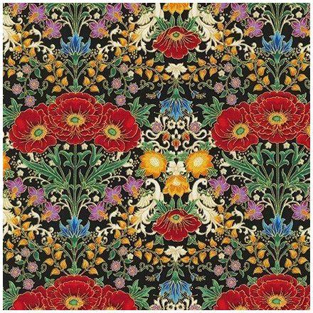 Tissu Coton QT Fabrics Florentine garden Multicolore sur fond Noir - Par 10 cm
