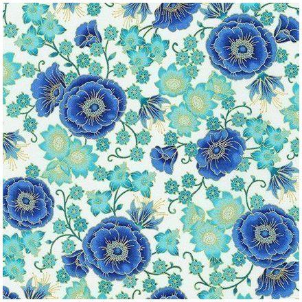 Tissu Coton QT Fabrics Florentine garden fleurs bleues or et vertes sur fond Blanc cassé - Par 10 cm