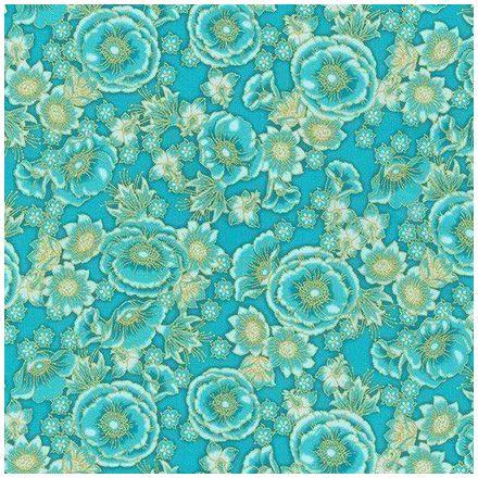 Tissu Coton QT Fabrics Florentine garden fleurs or sur fond Bleu turquoise - Par 10 cm