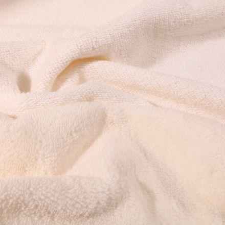 Tissu Éponge réversible Bambou envers polyester tout doux Ecru - Par 10 cm