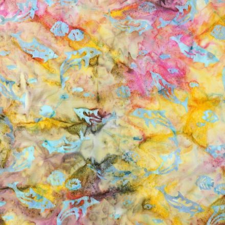 Tissu Batik Dauphins bleus sur fond Multicolore - Par 10 cm