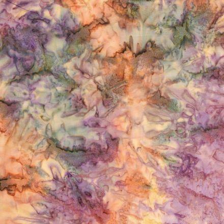 Tissu Batik Motif marbré violet, jaune et vert - Par 10 cm