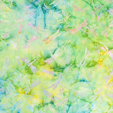Tissu Batik Libellules multicolores sur fond Vert et jaune - Par 10 cm
