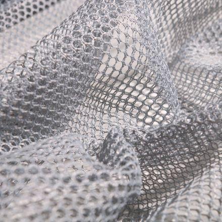 Tissu Filet Vrac mesh Gris acier - Par 10 cm