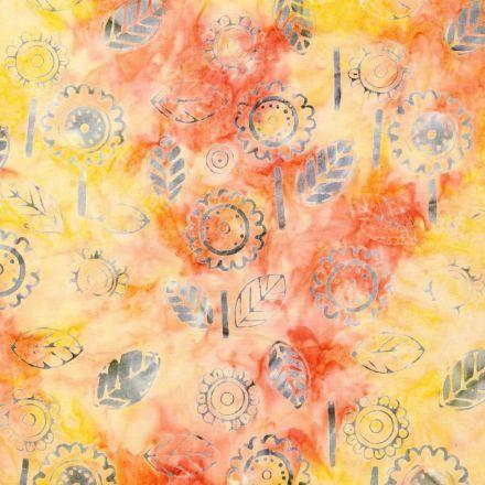 Tissu Batik Fleurs bleu-gris sur fond Orange et jaune - Par 10 cm