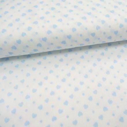 Tissu Piqué de coton Blanc Coeurs Bleu ciel 6 mm - Par 10 cm