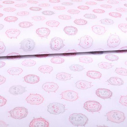 Tissu Piqué de coton Blanc Moutons Roses - Par 10 cm
