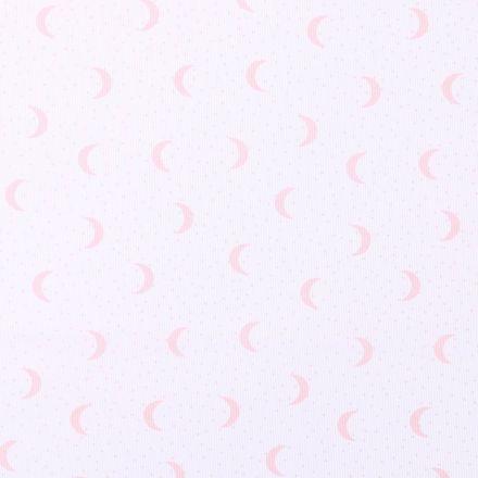 Tissu Piqué de Coton Lunes et pois roses sur fond Blanc - Par 10 cm
