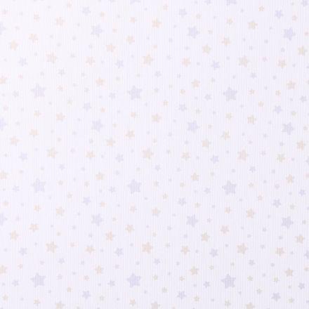 Tissu Piqué de Coton Etoiles Parme et beiges sur fond Blanc - Par 10 cm