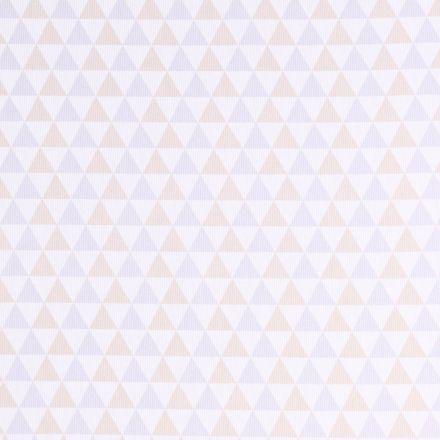 Tissu Piqué de Coton Triangles beiges et parme sur fond Blanc - Par 10 cm