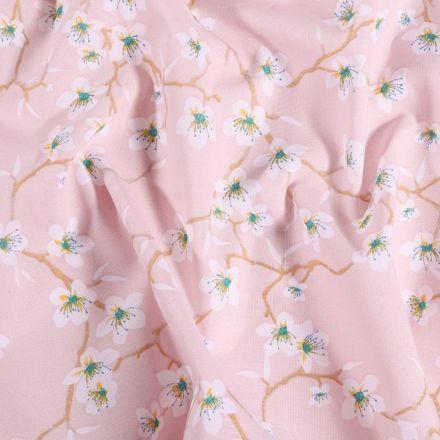 Tissu Coton imprimé Arty Fleur d'amandier sur fond Rose pâle - Par 10 cm